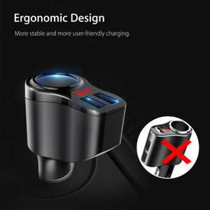 LED Screen DC 5V 3.4A Car Cigarette Lighter Socket Splitter Dual 2 USB Ports Charger Power Adapter Fast Charging QC For Phones