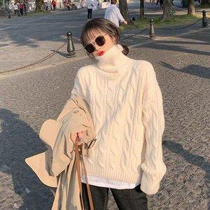 Donne TurtrleNeck Maglione rosa rosso manica lunga pullover inverno spessa casual casual beige jumper femmina maglioni sciolti oversize howdfeo