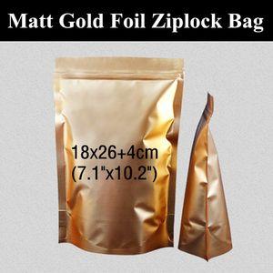 "50pcs 18X26 + 4 cm (7.1 ""x10.2"") 180micron Matt ouro folha de alumínio Ziplock Embalagem saco metálico Mylar Resealable Storage Bag"