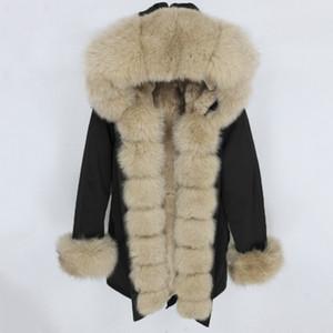 Oftbuy impermeable Parka 2020 Real Piel Abrigo Chaqueta de invierno Mujeres Natural Mapache Cuello de piel Cumpleaños Real Rabbit Fur Liner Detachablex1018 x1102