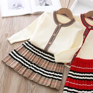 2020 осень новое поступление девушки мода вязаные 2 штуки наборы свитер пальто + юбка девочек бутик наряды ребёнка зимняя одежда X0923