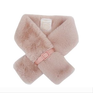 Designer Luxury Winter Women Faux Fur Warm Snood Short Femme Solid Collar Neck Wraps Infinity Scarf With Belt Crossed Ring F