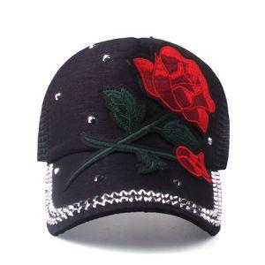 [YARBUU] Brand New Rose Baseball Caps Women Snapback Cap Summer paste flower net cap rhinestone hat Spring Hip Hop Hats Bone 201014