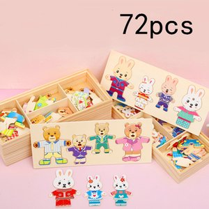 72pcs Little Bear Bunny Change Clothes Toy Baby Kids Early Education Wooden Jigsaw Puzzle Cartoon Rabbit Dressing Games Toys