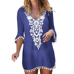 New Beach Cover Up Bikini Crochet Knitted Tassel Tie Beachwear Summer Swimsuit Cover Up Sexy See-through Beach Dress#3
