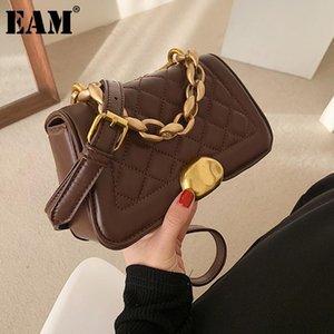 [Eam] Mulheres Novas Correntes Pequenas Argyle Handbag PU Couro Personalidade All-Match Crossbody Ombro Bag Moda 2021 18A1405