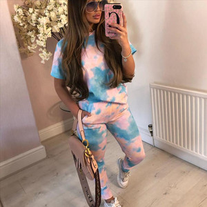 Women Set Summer Tie Dye Print Top and Pants Tracksuit Women Clothing Casual Sporty Lounge Wear Matching Sets Jogging Femme
