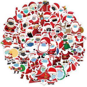 50pcs Lot Hotsale Christmas Santa Mask Stickers Decals Vinyl Waterproof No-duplicate Sticker For Laptop Skateboard Bottle Car Decal
