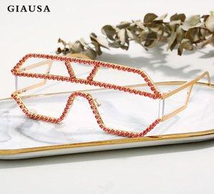 Giausa Oversize Occhiali da sole di lusso Donne Donne Rhinstone Occhiali da sole Occhiali da uomo UV400 Feminino
