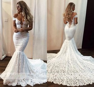 2021 Fantastic Lace Mermaid Wedding Dress Long Train Off Shoulder See Though Back Wedding Dresses Guest Plus Size Bridal Dress Women