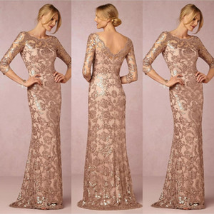 Bling Rose Gold Sequined Mother of the Bride Dresses Mermaid Jewel Neck Sequins Lace V Back Evening Party Dress Formal Wedding Guest Gowns