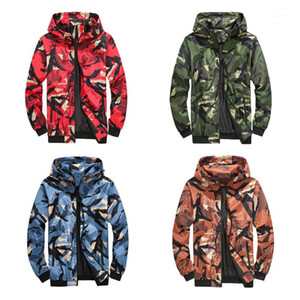 Zipper Jackets Fashion Trend Long Sleeve Thin Section Hooded Coats Designer Male Spring Casual Loose Cargo Outerwear Man Camouflage