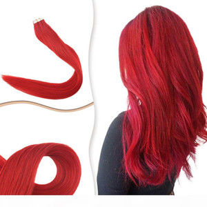 Tape In Human Hair Extensions Cooper Red Color Double Side Glue In Invisible Skin Wefts 40Pcs 100grams