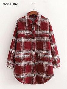 BIAORUINA frauen Woolen rote karierte einzelne breaked langen mantel abzugskragen weibliche elegante winter herbst mode oberbekleidung1