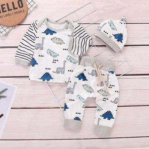 Newborn Kids Baby Girls Boy Clothing Striped Tops+Cartoon Dinosaur Clothes Sets Pants Infant Rompers Pleasant Children's Costume
