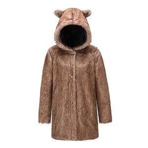 Faux Fur Coat Coat New Winter Clothes Cross-Border Womens Clothing Wholesale Cute Hat Mid-Length Leopard Fur