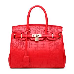 Leder-Gepäckanhänger Krokodil-Muster Birkin Bag Frauen neue Art und Weise koreanische Art Schulter-Umhängetasche Tragbare Hochzeit Beutel-Brautbeutel Red