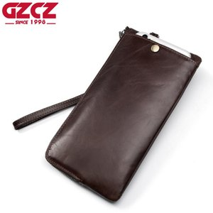 GZCZ Men Wallets Classic Long Genuine Leather Card Holder Male Purse Quality Zipper Large Capacity Wallet For Men