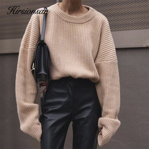 Hirsionsan Casual Sweater Women New Korean Elegant Knitted Pullovers loose Soft Warm Female Pullovers Fashion Solid Tops 201017