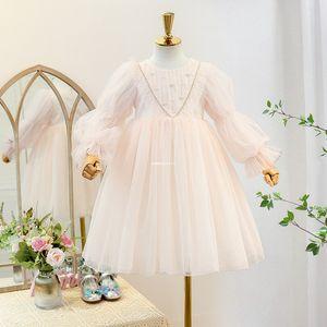 Sweet Girls Lace Princess Dress 2021 Spring New Kids Beaded Lace Gauze Lantern Sleeve Dress Children Falbala Tulle Party Dress A5749
