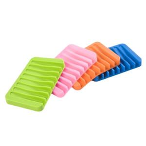 Drenagem Multicolor de água Anti Anti Skid Soap Caixa de Silicone Sabão Decos Banheiro Soap Soap Case Casa Banheiro Suprimentos 16 Cores EWB1428