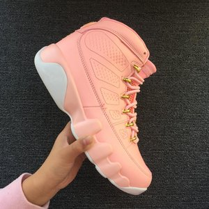 New With Box 9 Pink White Women Low Basketball Shoes Sports Sneakers Trainers Good Quality 9s Hot Sell Size 36 -40 with logo