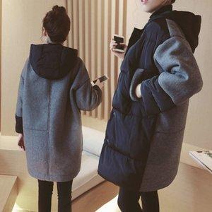 Hiver maternité Manteau en laine épais coréenne Casual loose femmes enceintes vers le bas rembourré long coton Veste f1871X1020