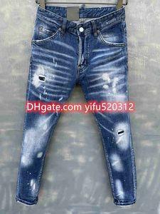 21SS Pantaloni da uomo Skinny Jeans Lavaggio leggero Pantaloni strappati Pantaloni strappati Lunghi con cerniera dritta a mosca Moto Rock Revival Jeans Joggers True Religioni 28-38