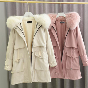 RosEvans Windbreaker Parka Real Fur Coats for Women 2020 Winter New Rex Fur Liner Collar Long Coat