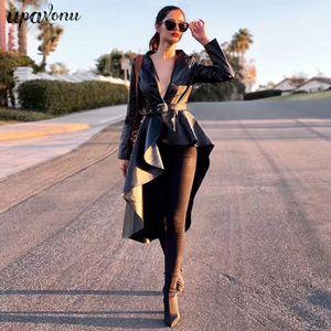 Fashion Autumn Pu Leather Ladies Jacket Coat Coat Lapel Long Sleeve Irregular Belt Hem Ruffled Ladies Jacket Coat 200929