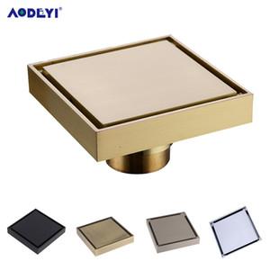 AODEYI frete grátis New 100% de chuveiro de bronze Dreno Banho dreno de assoalho de telha Inserir Praça Anti-odor Piso Resíduos Grelhas 100X100 T200715