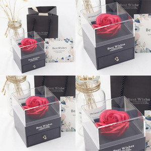 Rose Flower Jewelry Boxes Romantic Valentine Mother Day Necklace Ring Immortal Flower Box Jewelry Boxes Gift Wrap Birthday Gift 64 O2