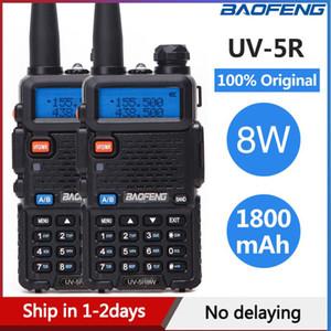 Estação de Rádio 2PCS Baofeng UV5R Walkie Talkie UV5R CB 8W 10KM VHF UHF Dual Band UV 5R Rádio em dois sentidos para a caça Ham Rádios