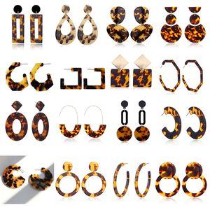 Геометрия свисающих серьги акриловые леопардовые печати круг квадратные ушные шпильки пластиковые женские ювелирные изделия длинная ушная крышка 5 5xy g2b