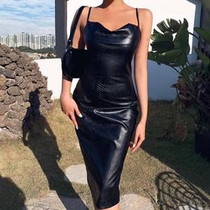 Черная искусственная кожа колена длиной bodycon платье женщины спагетти тонкий вечеринка элегантная леди лесная платье лето сексуальная одежда