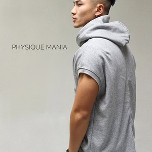 PHYSIQUE MANIA fitness sleeveless hoodie sweater training top solid color men's style sportswear
