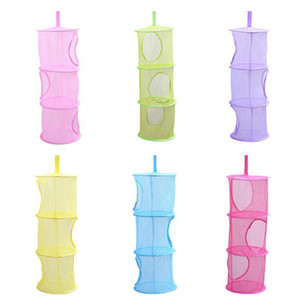 OUNONA Hanging Mesh Space Saver Bags Organizer 3 Compartments Toy Storage Basket for Kids Room