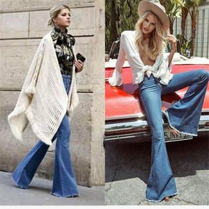 Vintage faible taille élastique Jeans Flare femmes Style rétro de Bell Bottom Skinny Jeans Femme Bleu foncé Pantalon large Leg Denim