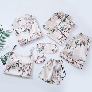 Sexy Pajama Set Women Print Pyjamas 7 Pieces Set Long Shirt Pants Stitch Lingerie 2020 Fashion Sleepwear LJ200921
