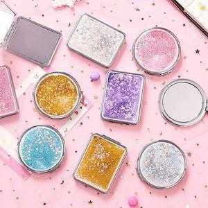 Nueva plegable linda Mini Espejo de maquillaje arena movediza Espejo de bolsillo Espejo Vidrio Plástico Mujeres Lovely Girl
