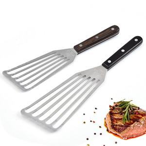 Cozinhar Utensílios Fried Steak Shovel Longo Punho Slotted Aço Inoxidável Enguia Turner Spatula Cozinha Ferramentas Transporte marítimo DHB4709