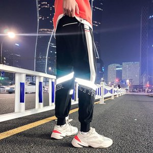 Fashion Joggers Cargo Men Clothing Brand Loose Luminous Ribbons Pencil Sweatpants Streetwear Casual Pants Fitness Gym Trousers