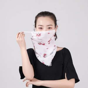 Women Bandanas Mask Silk Chiffon Handkerchief Windproof Half Face Dust-proof Sunshade Scarf veil Party Masks T2I5796-2t23