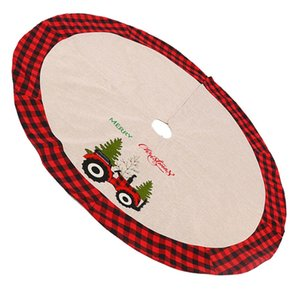 Christmas Linen Skirt Lattice Tree Apron Pad Party Ornament Xmas Floor Mat Ornaments Decor Base Floor Mat Cover Home Party Decor sqcMLQ