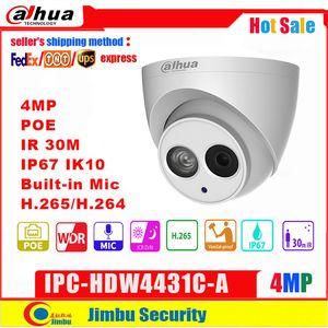 Dahua 4MP IP 카메라 IPC-HDW4431C - MIC IR30M IP67 네트워크 CCTV 카메라로 내장 된 POE IPC-HDW4433C-A 스마트 탐지