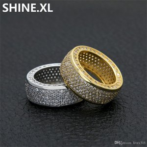 Hip Hop Ring Men Gold Silver Color Plated Iced Out Micro Pave Zircon Fashion Finger Jewelry Party Gift Idea