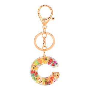 Lovely pretty fruits resin keychains new ins trendy fashion popular 26 letters women girls key chain rings gifts for family friends