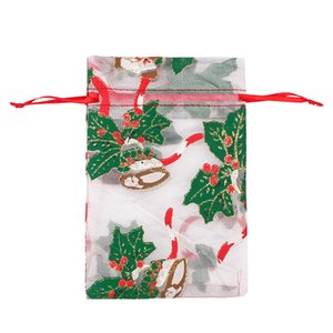 Christmas Gift Drawstring Bags Organza Jewelry Bags Wedding Party Xmas Candy Bag Packing Bags Mixed Color HWE9307