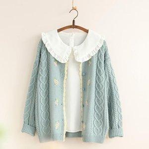 Mori niña dulce floral grueso suéter cálido primavera otoño mujeres tejido cárdigans giry crochet de punto suéter abrigo 201030