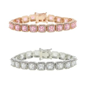 5A CZ Charm Iced Bracelet Big Square Cubic Zirconia Hiphop Rose Gold Pink Silver Color Women Bracelets Bling Fashion Jewelry